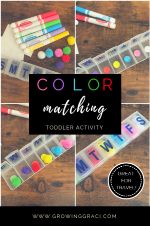 Keeping a toddler busy is difficult. Check out this easy, DIY toddler activity that is easy to take on-the-go and will help teach your little one colors!