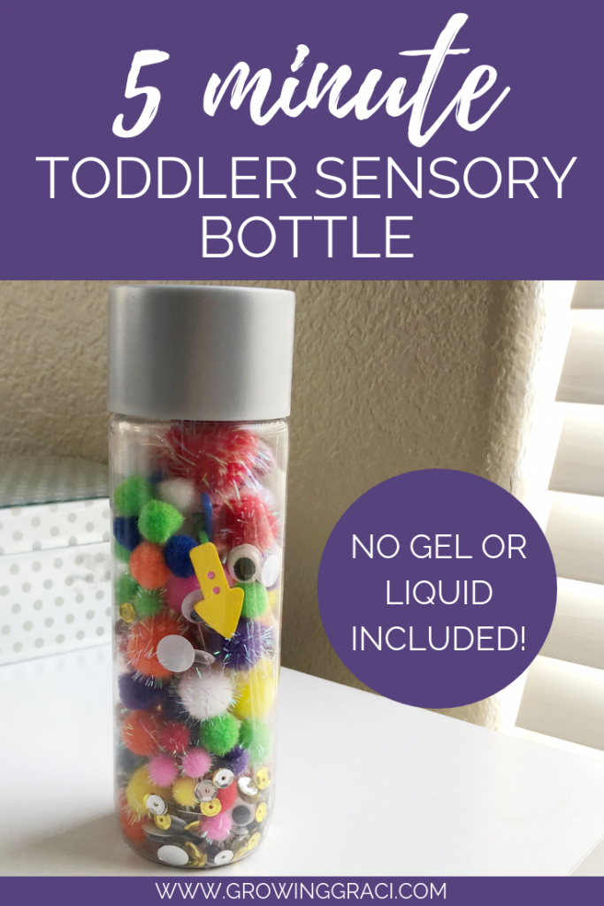 Find out how to make this simple sensory bottle in under five minutes! This bottle contains no liquid inside, so it is super lightweight for your toddler!
