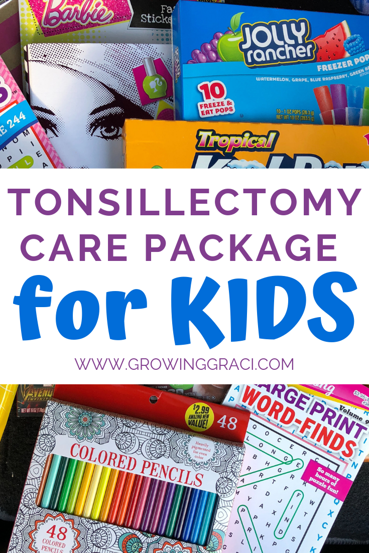 Tonsillectomy surgery isn't fun, especially when you're a kid. Check out this tonsil surgery care package that we made for our 9-year-old.