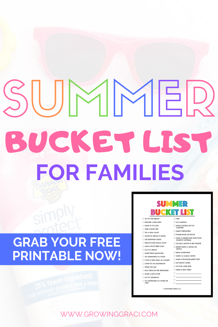 Summer Bucket List  For Families 2019